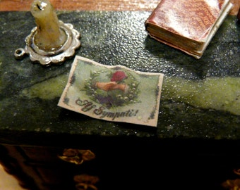 1:12 Miniature Antique Postcard Aged Mini Post Card Vintage Dollhouse 1/12 Victorian Study Mail Love Friendship Letters 1920's Writing