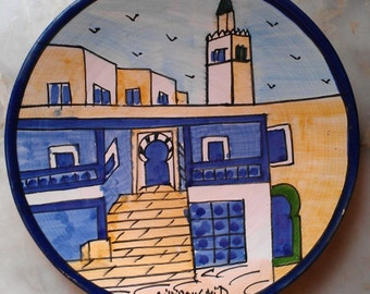 ceramic plate plateful seat  handmade colored hands natural clay ceramique handicraved blue yellow white  kichen deco assiette en argile