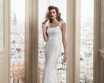 Elegant, Romantic White/Ivory Sheath Wedding Dress with, Shoulder Straps, Drop Shoulder, Lovely Back, Lace Up, Lace, Satin Gown Buy Online