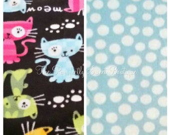 "Fleece Cat Blanket ""Colorful Cats on Black Background w/Blue Polka-Dot Back"" No-Sew Tie Blankets, Cat Bedding, Fleece Cat Throw, Cat Gifts"