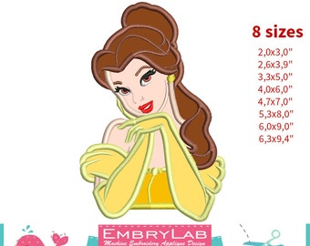 Applique Belle. Beauty and the Beast. Machine Embroidery Applique Design. Instant Digital Download (16197)