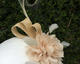 Cream fascinator with fabric flower and curly feather