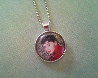 Audrey Hepburn Glass Pendant Necklace