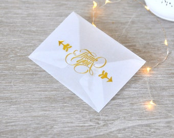 Gold embossed Thank You Mini Envelopes - pack of 4