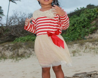 Red Striped Gold Tulle Dress