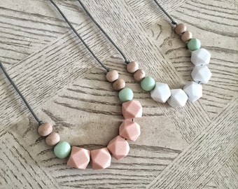 Silicone Beads Wood beads - Teething Necklace / Nursing Necklace for Mom and Baby Shower Gift - Urban wooden beads / wood teether - summer