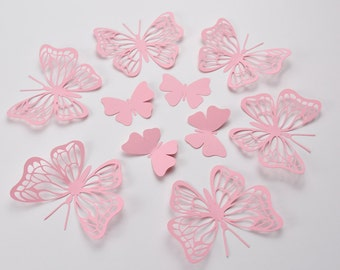 20 BabyPink Butterfly Wall Stickers, Large Birthday Party Butterflies, 3D Paper Butterflies, Butterfly Party Decoration, Butterfly Decor