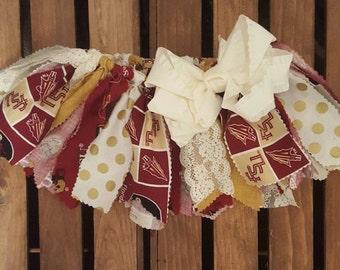 FSU theme Fabric Tutu, Girl's Scrappy Fabric Tutu, Team sports Tutu, Toddler Tutu