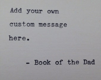 Your 6x6 custom quote hand typed gift wedding present valentines birthday gift on antique typewriter