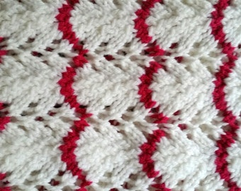 White and Raspberry Knit Afghan