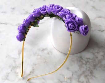 Purple Rose Flower Headpiece / Fascinator - Gold Headband