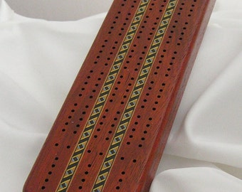 Cribbage Board Set - Paduak Wood - Blue-Yellow-Black ZigZag Inlay
