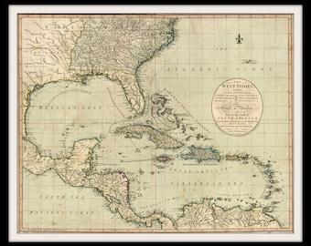 Caribbean Nautical Chart Historic Map Print 1783 West Indies Gulf of Mexico Bahamas Florida Jamaica Virginia Carolina Wall Art Home Office
