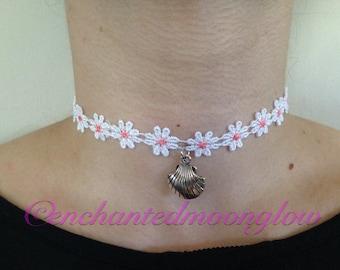White Lace Flower Choker