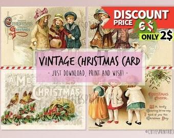 Vintage Christmas Digital Greeting Card Printable - Retro Vintage Images