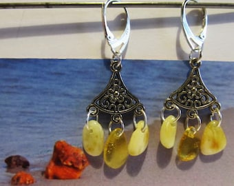 100% Natural Baltic Amber Earrings 4.3 gr. 925 Silver plated yellow beads opaque souvenir gift present 3 suspenders