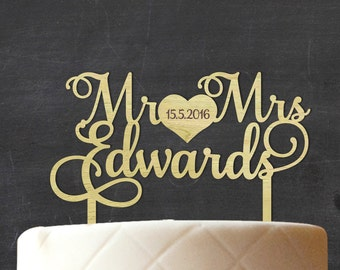 Mr & Mrs Custom Wood Cake Topper, Wooden Cake Topper, Personalized Wedding Rustic Cake Topper, Rustic Topper, Engagement Gift CATO-W56