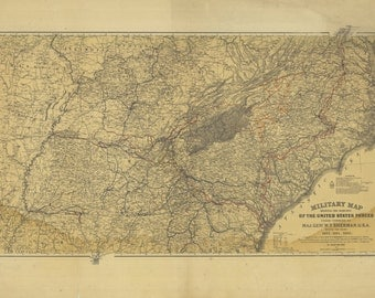 Civil War Map Etsy - Rustic map of the us in the civil war