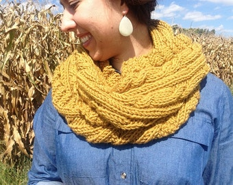 Handmade Cable-Knitted Wool Scarf in Mustard Yellow