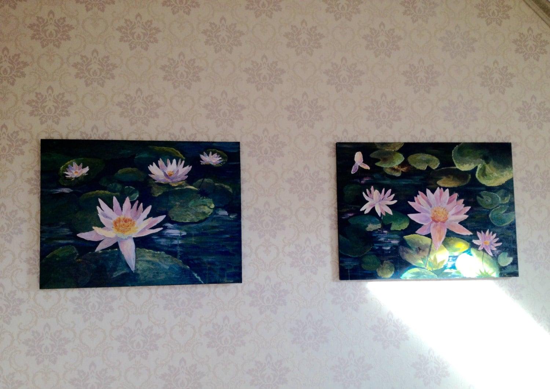 nacht lotusbl ten acryl gem lde kunst f r zuhause von mastermommy. Black Bedroom Furniture Sets. Home Design Ideas