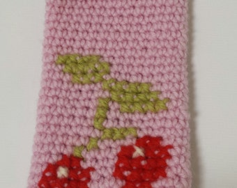 Crochet Pink cherry phone cosy