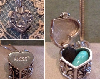 "Vintage Sterling Silver 3d heart shaped Prayer Wish box pendant & 18"" Sterling necklace set    925 Prayer, Hopes, Dreams lock box pendant"