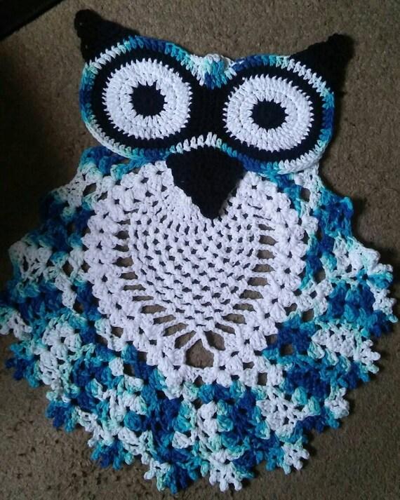 Owl Rug Crochet Owl Rug Blue Owl Bathroom Rug Bedroom Rug
