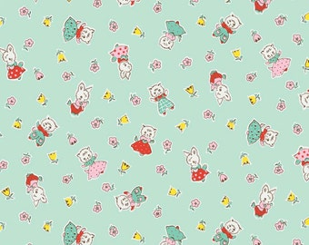 SALE Milk Sugar & Flower Friends Mint by Penny Rose Riley Blake - Bunny Green -100% Cotton Woven Quilt Fabric - 1 yard 22 inches end of bolt
