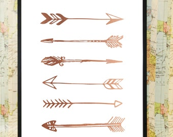Arrows copper poster typography print