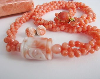 Vintage Carved Coral Chinese longevity 3 Strand Necklace and Earring set