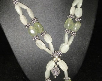 CLEARANCE * Moss Prehnite Beaded Necklace
