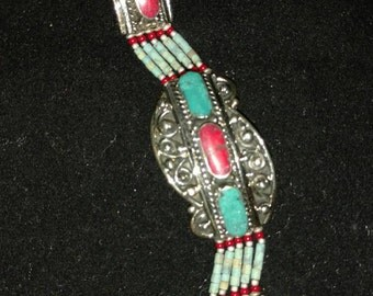 Red Coral and Turquoise Bracelet