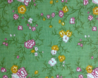ON SALE:  Pink and Orange Flowers on Olive Green Background, 100% Cotton
