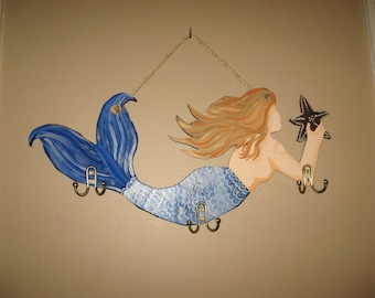 hand painted mermaid mermaid hanging wooden mermaid