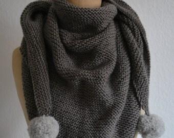 Grey shawl taupe, grey tassels