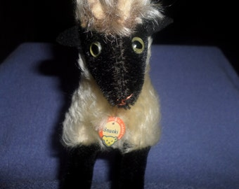 Vintage Steiff Ram plush Mohair Snucki with chest tag 1950 black cream horns