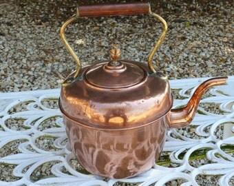 Vintage Copper Kettle. Vintage Copper & Brass Kettle.  Copper Cauldron Pot Kettle.  Copper Pot Kettle.  Copper Cauldron. FRENCH. VINTAGE.