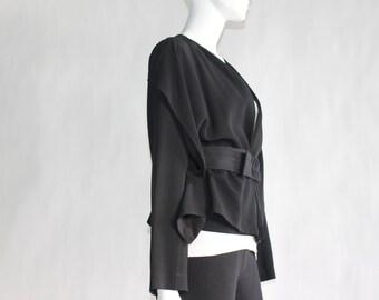 Vintage Vionnet Paris - Black Blazer with Belt - Made in ITALY - Size MEDIUM