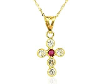 18K Yellow Solid Gold Ruby Cross Pendant, Cross Necklace, Spiritual Jewelry, Women Cubic Zirconia Pendant Necklaces