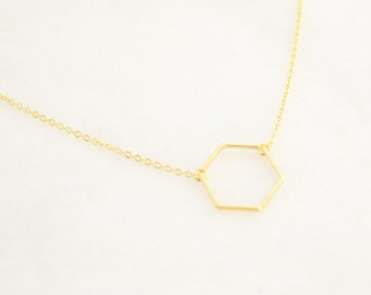 Gold Hexagon necklace - Layering Necklace - Delicate Charm necklace - Minimalist and Dainty Necklace