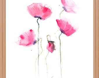 Red poppy flower, Original watercolor painting