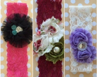 "Shabby Chic Flower Headband 2"" inches"