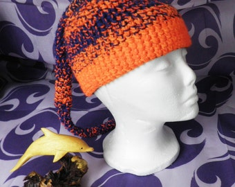 Neon Orange and Blue Pixie Crochet Hat with Tail  Size M