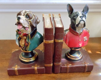 Vintage Dog Bookends, Hobby Lobby Resin Bookends, Cute Dog Bust Bookends, Funny Dogs Wearing Early 1800s' Men's Clothing Bookends, 1970s'