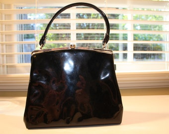 Vintage black patent leather purse handbag pocket book Dover Made in the USA classic
