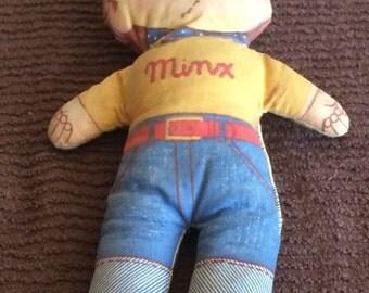 Vintage Stuffed Minx Doll   Vintage Advertising Doll