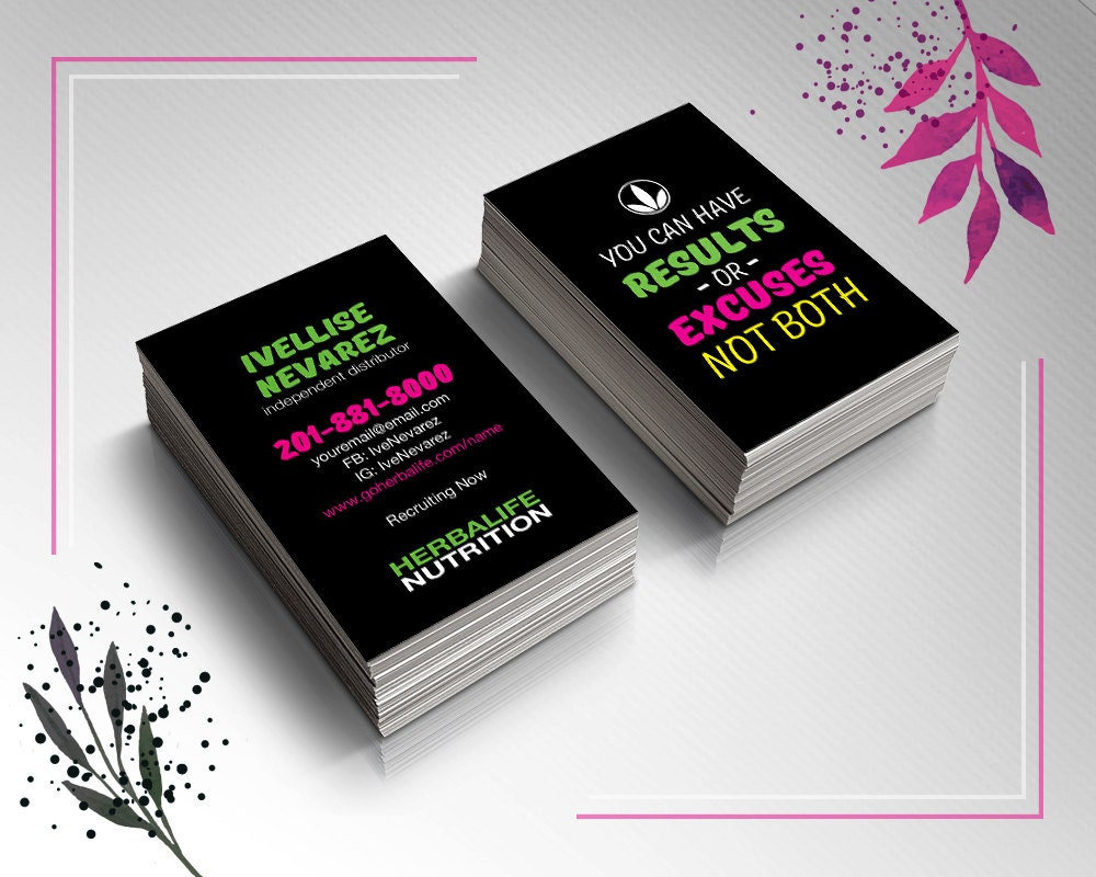 Colorful herbalife business card design by prelinx on etsy for Herbalife business card