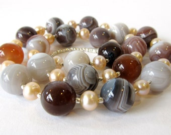Botswana Agate Necklace, Chunky Style Necklace with Botswana Agate, Blush Freshwater Pearls, and Hill Tribes Fine Silver, Handmade Jewelry