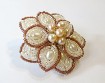Flower Brooch, French Beaded Flower Pin in Ivory and Pink with Freshwater Pearls