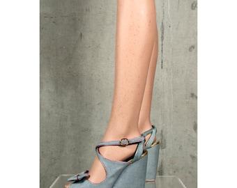 NBW jeans disco metallic VIKTOR & ROLF wedged heel shoes